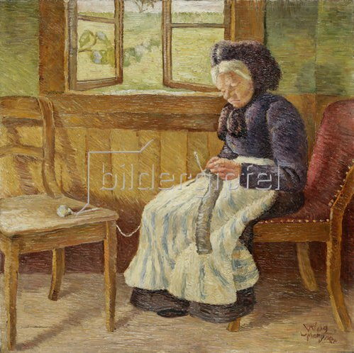 Wilhelm Morgner: Strickende weißhaarige Frau. 1909