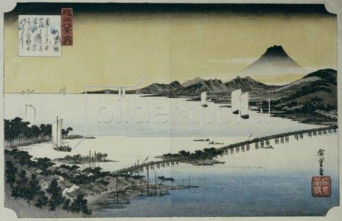 Ando Hiroshige: Abenddämmerung in Seta. Aus der Serie: Acht Ansichten des Sees Biwa.