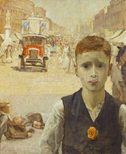 Ursula Wood: Sommer in London (Junge in einer verkehrsreichen Straße in London).