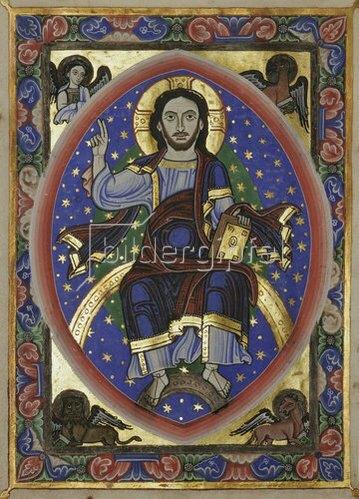 Unbekannter Künstler: Majestas Domini. Einzelblatt aus einem liturgischen Buch. Köln, St. Pantaleon. Um 1140