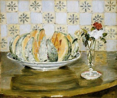 Auguste Renoir: Stillleben mit Melone und einer Vase mit Blumen. 1883