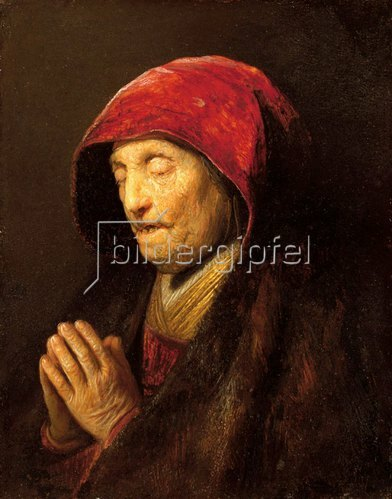 Rembrandt van Rijn: Betende alte Frau, bekannt als 'Rembrandts Mutter'.
