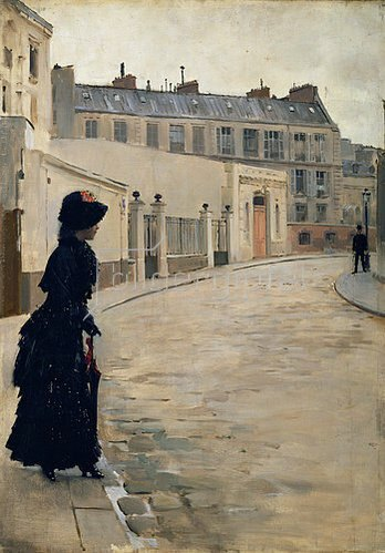 Jean Béraud: Warten, rue de Chateaubriand, Paris.