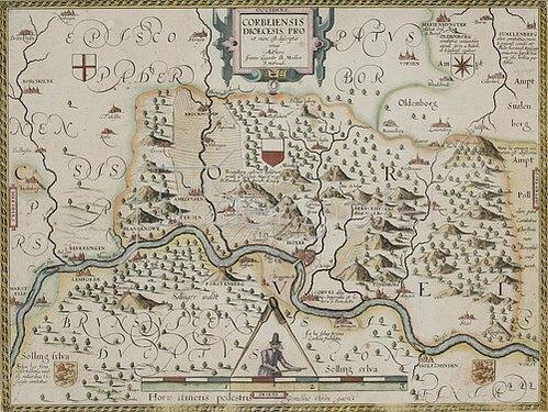 Johannes Gigas: Karte der Fürstabtei Corvey, aus: Prodomus Geopgraphicus [...]. Köln, 1620