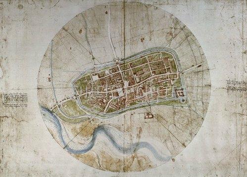 Leonardo da Vinci: Stadtplan von Imola.