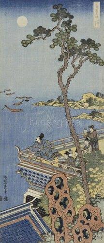 Katsushika Hokusai: Ein Höfling auf einem Balkon eines chinesischen Pavillons, bei Mondlicht in die Ferne blickend.