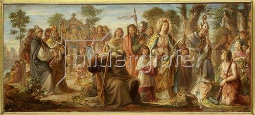 Philipp Veit: Die Einführung der Künste in Deutschland durch das Christentum; Farbenskizze zum Mittelbild des Freskos Inv.-Nr. 1114