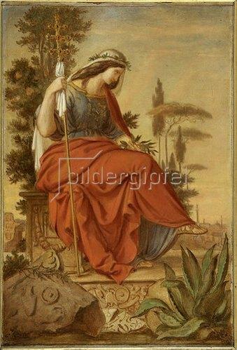 Philipp Veit: Italia. Farbenskizze zum linken Seitenbild des Freskos Inv.-Nr. 1115