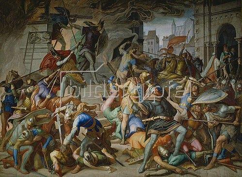 Julius Schnorr von Carolsfeld: Der Kampf an der Stiege. Fresko im Saal der Rache (Nibelungensäle) in der Residenz München. 1848