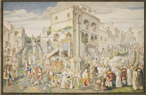 Johann Ramboux: Frohnleichnamsfest in Genzano. 1821