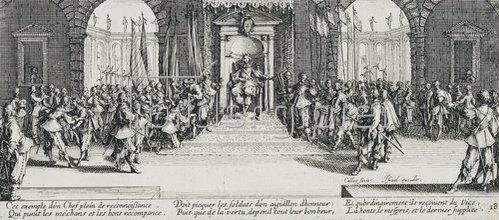 Jacques Callot: Les Miseres et les Mal-Heurs de la Guerre (Blatt 18): Die Verteilung der Belohnung. 1633