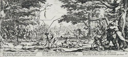 Jacques Callot: Les Miseres et les Mal-Heurs de la Guerre (Blatt 17): Die Rache der Bauern. 1633