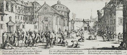 Jacques Callot: Les Miseres et les Mal-Heurs de la Guerre (Blatt 15): Das Krankenhaus. 1633