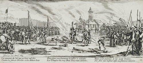 Jacques Callot: Les Miseres et les Mal-Heurs de la Guerre (Blatt 13): Der Scheiterhaufen. 1633