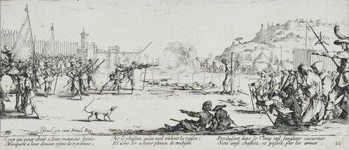 Jacques Callot: Les Miseres et les Mal-Heurs de la Guerre (Blatt 12): Die Erschießung. 1633
