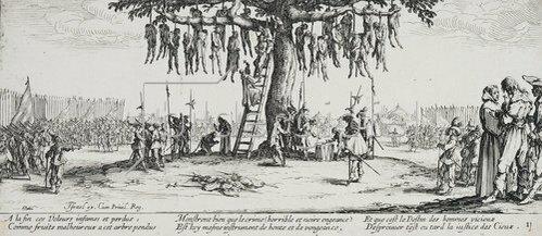 Jacques Callot: Les Miseres et les Mal-Heurs de la Guerre (Blatt 11): Die Gehenkten oder der Galgenbaum. 1633