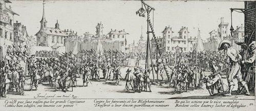 Jacques Callot: Les Miseres et les Mal-Heurs de la Guerre (Blatt 10): Der Wippgalgen. 1633