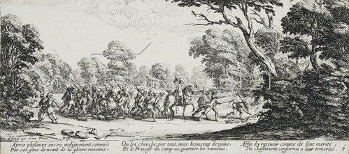 Jacques Callot: Les Miseres et les Mal-Heurs de la Guerre (Blatt 9): Die Entdeckung der Übeltäter. 1633