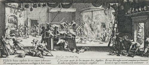 Jacques Callot: Les Miseres et les Mal-Heurs de la Guerre (Blatt 5): Plünderung auf einem Bauernhof. 1633