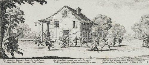 Jacques Callot: Les Miseres et les Mal-Heurs de la Guerre (Blatt 4): Die Plünderung. 1633