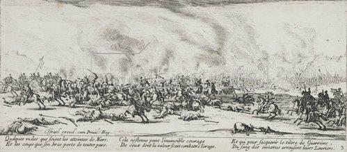 Jacques Callot: Les Miseres et les Mal-Heurs de la Guerre (Blatt 3): Die Schlacht. 1633