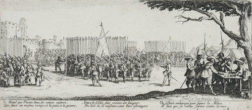 Jacques Callot: Les Miseres et les Mal-Heurs de la Guerre (Blatt 2): Die Anwerbung der Truppen. 1633