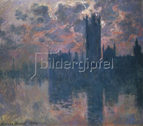 Claude Monet: Das Parlament in London bei Sonnenuntergang. 1902