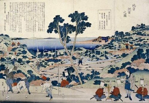 Katsushika Hokusai: Die Landvermessung. Um 1848