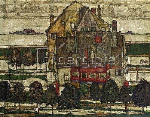 Egon Schiele: Einzelne Häuser (Häuser mit Bergen). 1915