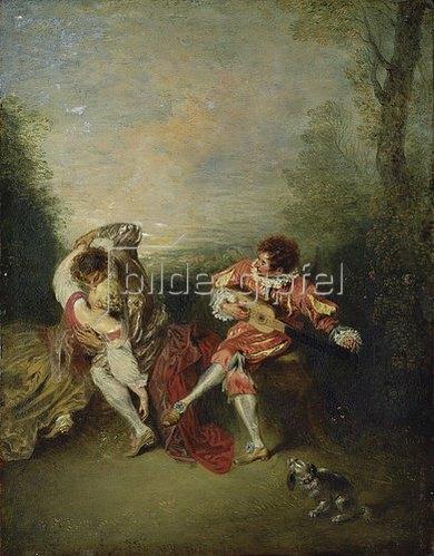 Jean Antoine Watteau: La Surprise: Ein sich umarmendes Paar und ein Guitarre spielender Mezzetin.