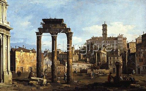 Bernardo (Canaletto) Bellotto: Rom: Das Forum mit dem Tempel von Kastor und Pollux.
