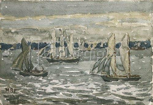 Maurice Brazil Prendergast: Der Hafen von Boston, ein verregneter Tag.