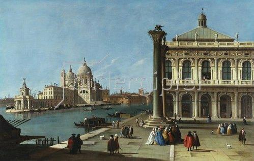 Atelier Canaletto: Die Einfahrt zum Canal Grande, Venedig mit der Piazzeta und der Kirche Santa Maria della Salute, 18. Jahrhundert.