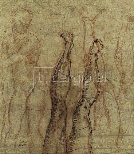 Michelangelo: Auferstandener Christus, ein dreiviertel Akt über Studien eines Beines und Fusses.