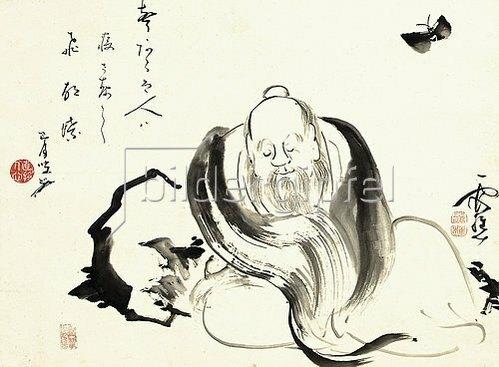 Ike no Taiga: Zhuang Zi, von einem Schmetterling träumend.