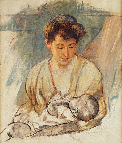Mary Cassatt: Mutter Rose betrachtet ihr schlafendes Baby. Um 1900
