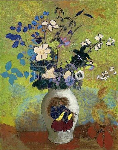 Odilon Redon: Blumen in einer Vase mit japanischem Krieger. Um 1905