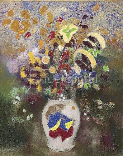 Odilon Redon: Blumenvase mit japanischem Krieger. 1905-08