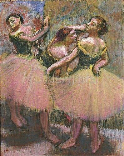 Edgar Degas: Drei Tänzerinnen mit grünen Korsagen. Um 1900