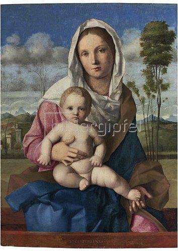 Giovanni Bellini: Madonna mit Kind in einer Landschaft.