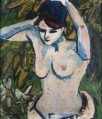 Ernst Ludwig Kirchner: Halbakt mit erhobenen Armen. 1910