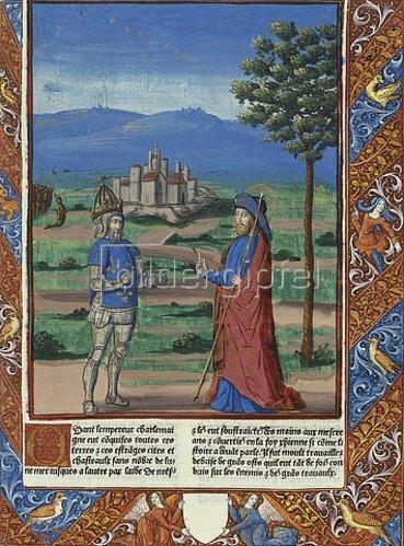 Handschrift: Karl dem Großen erscheint der Heilige Jakobus (aus: Chroniques de France). 1493