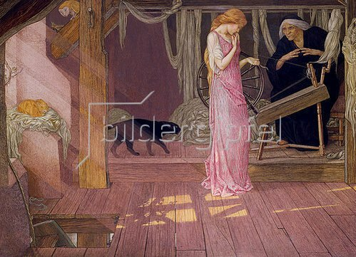 John Dickson Batten: Dornröschen. Die Prinzessin sticht sich in den Finger.