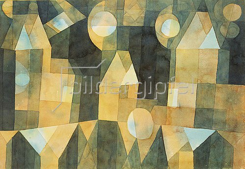 Paul Klee: Drei Häuser an der Brücke. 1922