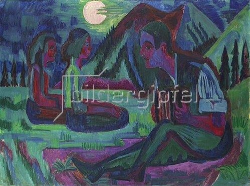 Ernst Ludwig Kirchner: Handorgler in Mondnacht. 1924