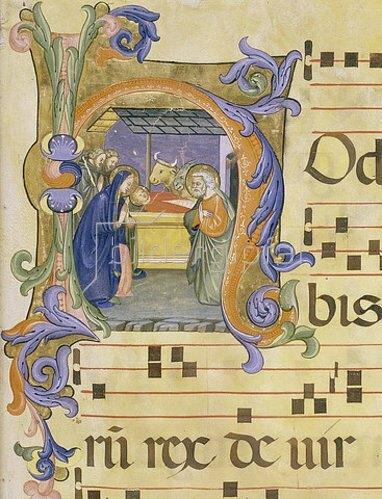 Don Simone Camaldolese: Initiale 'H' mit der Geburt Christi (aus einem Choralbuch). Um 1388-89