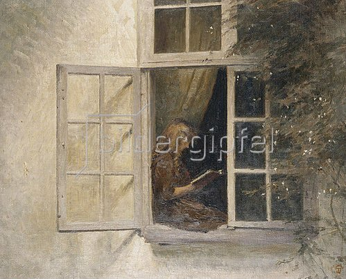 Peter Ilsted: Lesendes Mädchen am Fenster.