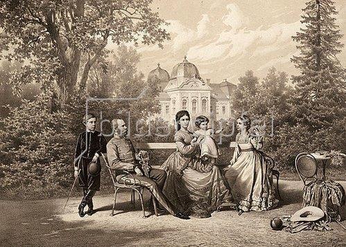 Vinzenz Katzler: Kaiser Franz Joseph I. und Kaiserin Elisabeth mit ihren Kindern Kronprinz Rudolf, Marie Valerie und Gisela im Schloßpark von Gödöllö, Ungarn. 1871