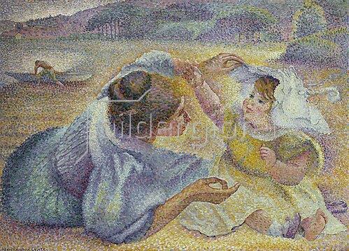 Henri Edmond Cross: Mutter und Kind am Strand. Um 1897