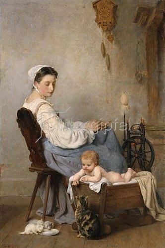 Adolphe Weisz: Beim Beobachten der Katzenkinder. 1868
